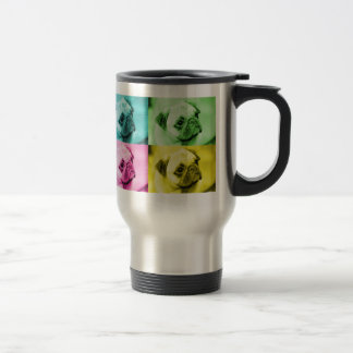 "Pug ""pop kind"" thermal cup 15 oz stainless steel travel mug"