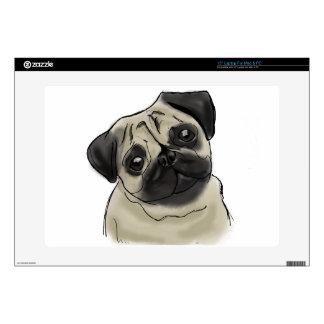"Pug Portrait Drawing 15"" Laptop Skin"