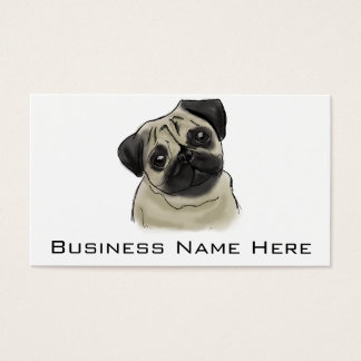 Pug Portrait Drawing Business Card