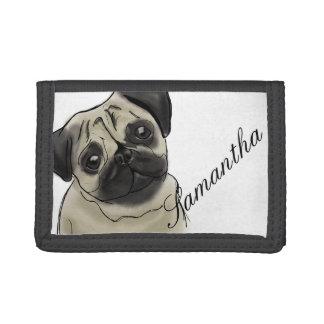 Pug Portrait Drawing Tri-fold Wallets
