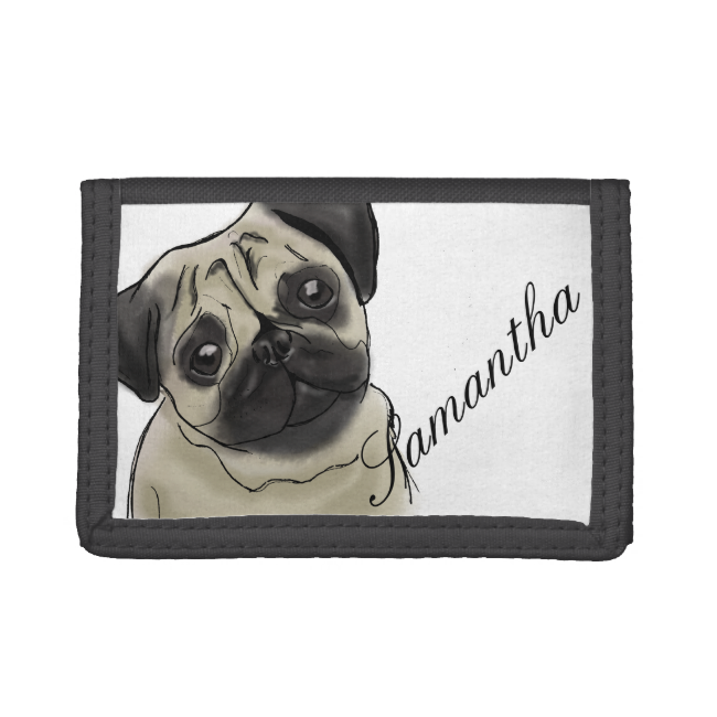 Pug Portrait Drawing Trifold Wallet