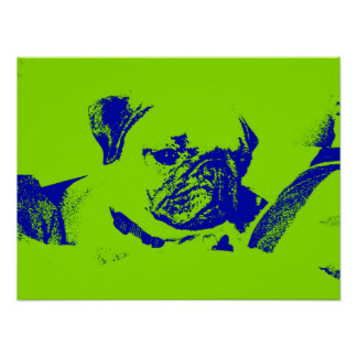 Pug Poster-Green Poster