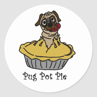 Pug Pot Pie Classic Round Sticker