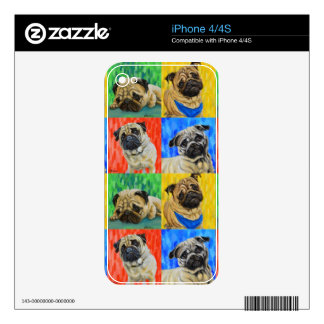 Pug Primary Repeating Pattern Decals For The iPhone 4