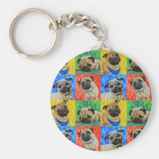 Pug Primary Repeating Pattern Keychain