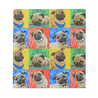 Pug Primary Repeating Pattern Notepad