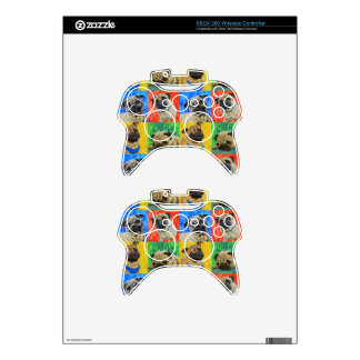 Pug Primary Repeating Pattern Xbox 360 Controller Decal