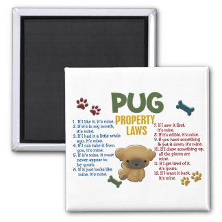 Pug Property Laws 4 2 Inch Square Magnet