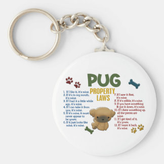 Pug Property Laws 4 Basic Round Button Keychain