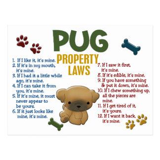 Pug Property Laws 4 Postcards