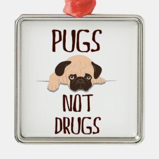 pug pugs not drugs cute dog design square metal christmas ornament