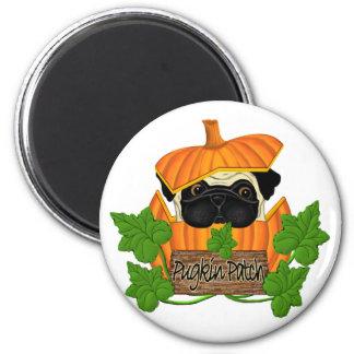 Pug Pumpkin Patch 2 Inch Round Magnet
