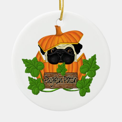 Pug Pumpkin Patch Christmas Tree Ornaments