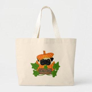 Pug Pumpkin Patch Large Tote Bag