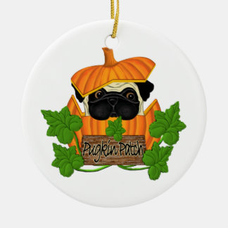 Pug Pumpkin Patch Double-Sided Ceramic Round Christmas Ornament