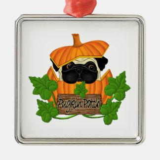 Pug Pumpkin Patch Square Metal Christmas Ornament