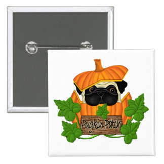 Pug Pumpkin Patch Pinback Button