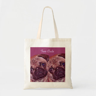 """Pug Puppies """"Two Cute"""" Canvas Bags"""