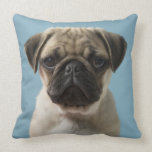 Pug Puppy Against Blue Background Pillow