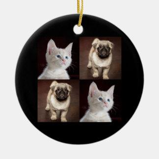 Pug Puppy and Cute Kitten Ceramic Ornament
