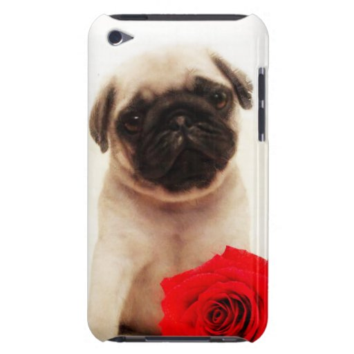 Pug puppy and rose Case-Mate iPod touch case