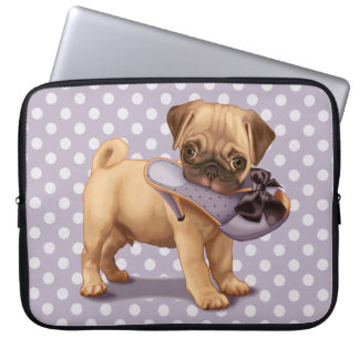 Pug Puppy and Shoe Laptop Sleeve