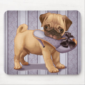 Pug Puppy and Shoe Mouse Pad