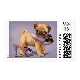 Pug Puppy and Shoe Postage