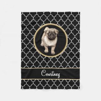 Pug Puppy Black White Quatrefoil with Name Fleece Blanket