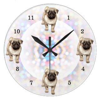 Pug Puppy Bright Lights Background Large Clock