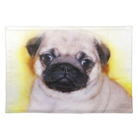 Pug puppy cloth placemat