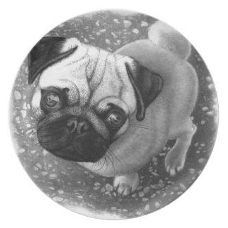 Pug Puppy Dog Art Melamine Plate