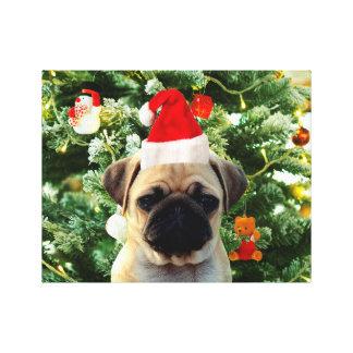 Pug Puppy Dog Christmas Tree Ornaments Snowman Canvas Print