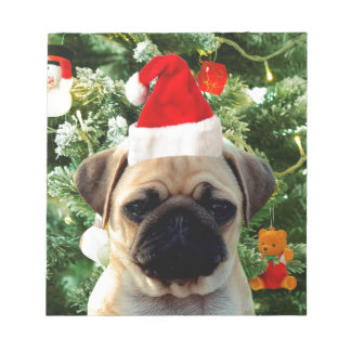 Pug Puppy Dog Christmas Tree Ornaments Snowman Notepad