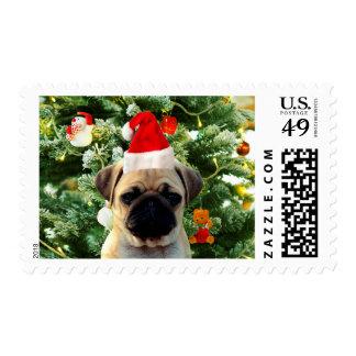 Pug Puppy Dog Christmas Tree Ornaments Snowman Postage