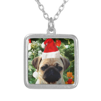 Pug Puppy Dog Christmas Tree Ornaments Snowman Square Pendant Necklace