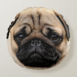 "Pug Puppy Dog Round Throw Cushion<br><div class=""desc"">Gorgeous Pug Puppy dog Throw cushion that will enhance any room in your home.. Also a perfect gift!</div>"