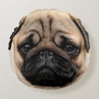 Pug Puppy Dog Round Throw Cushion