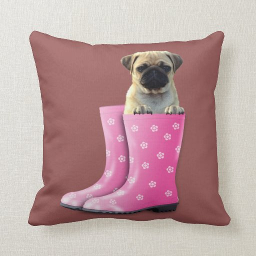 Cute Dog Pillow Beds : Pug Puppy Gift cute boots make a comfy bed Marsala Throw Pillow Zazzle