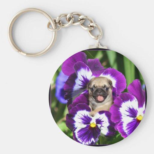 Pug puppy in pansies basic round button keychain