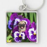 Pug puppy in pansies keychains