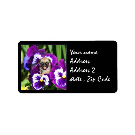Pug puppy in pansies label