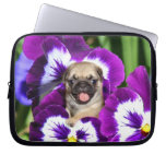 Pug puppy in pansies Neoprene Laptop Sleeve