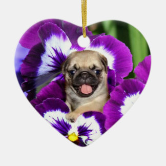 Pug puppy in pansies christmas ornaments