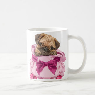 Pug puppy in pink handbag coffee mug