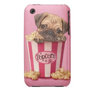 Pug puppy in popcorn bucket iPhone 3 Case-Mate case