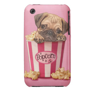 Pug puppy in popcorn bucket Case-Mate iPhone 3 cases