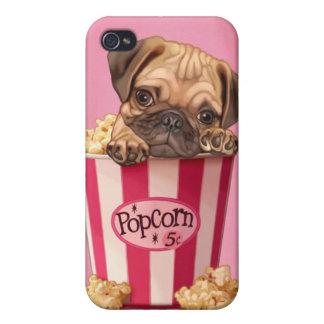 pug puppy in retro popcorn bucket iPhone 4/4S covers