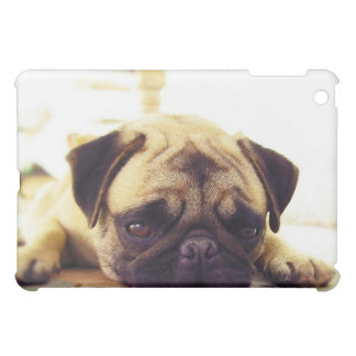 Pug Puppy Laying on the Ground looking Sad iPad Mini Cover