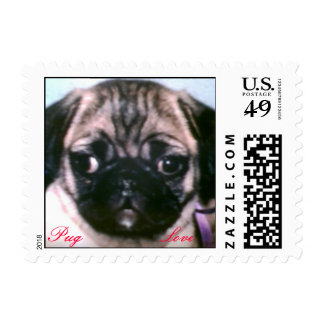 Pug puppy love postage stamps